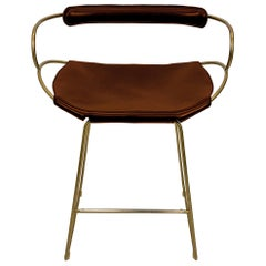 Bar Stool with Backrest Aged Brass Steel and Cognac Saddler Leather