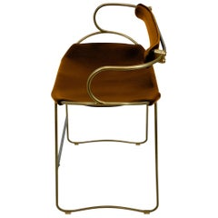 Bar Stool with Backrest Aged Brass Steel and Natural Tobacco Saddler Leather