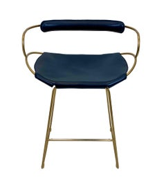 Bar Stool with Backrest Aged Brass Steel and Navy Saddler Leather