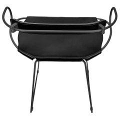 Bar Stool with Backrest Black Smoke Steel and Black Saddler Leather