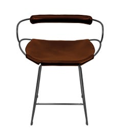 Bar Stool with Backrest Black Smoke Steel and Cognac Saddler Leather
