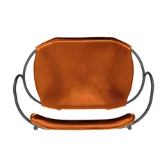 Bar Stool with Backrest Black Smoke Steel and Natural Tobacco Saddler Leather