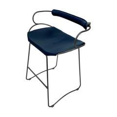 Bar Stool with Backrest Black Smoke Steel and Navy Saddler Leather