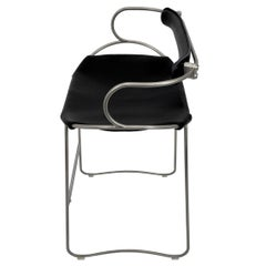 Bar Stool with Backrest Old Silver Steel and Black Saddler Leather