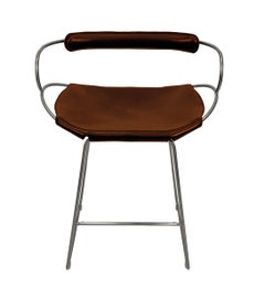 Bar Stool with Backrest Old Silver Steel and Cognac Saddler Leather