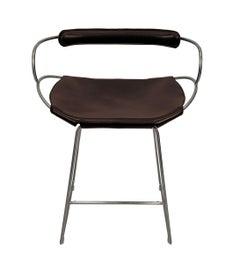 Bar Stool with Backrest Old Silver Steel and Dark Brown Saddler Leather