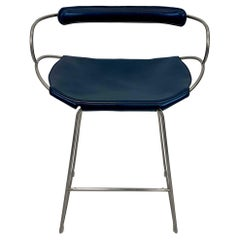 Bar Stool with Backrest Old Silver Steel and Navy Saddler Leather