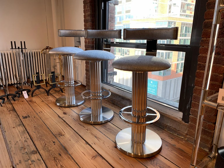 Bar Stools by Designs for Leisure, Chrome Steel, Swivel For Sale 8