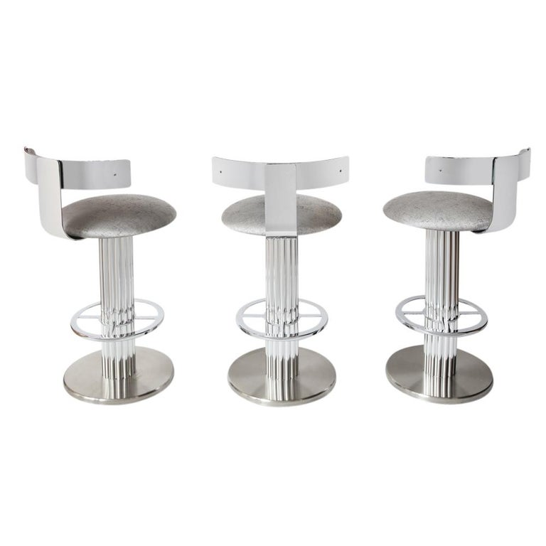 Mid-Century Modern Bar Stools by Designs for Leisure, Chrome Steel, Swivel For Sale