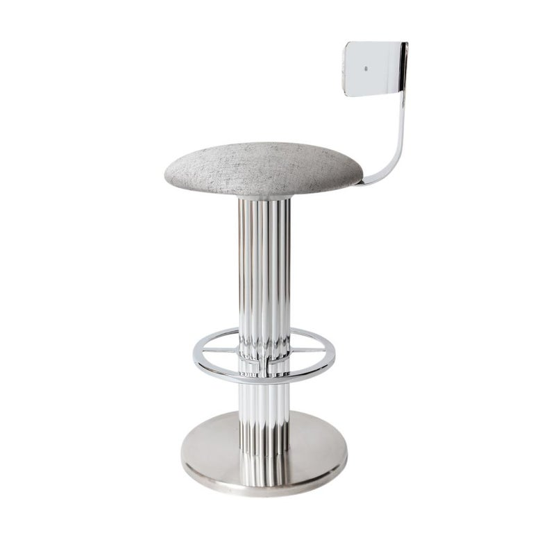 Plated Bar Stools by Designs for Leisure, Chrome Steel, Swivel For Sale