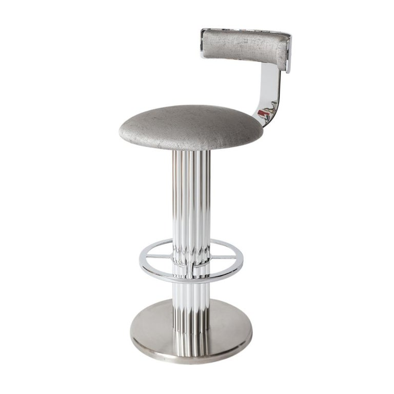 Bar Stools by Designs for Leisure, Chrome Steel, Swivel In Good Condition For Sale In New York, NY