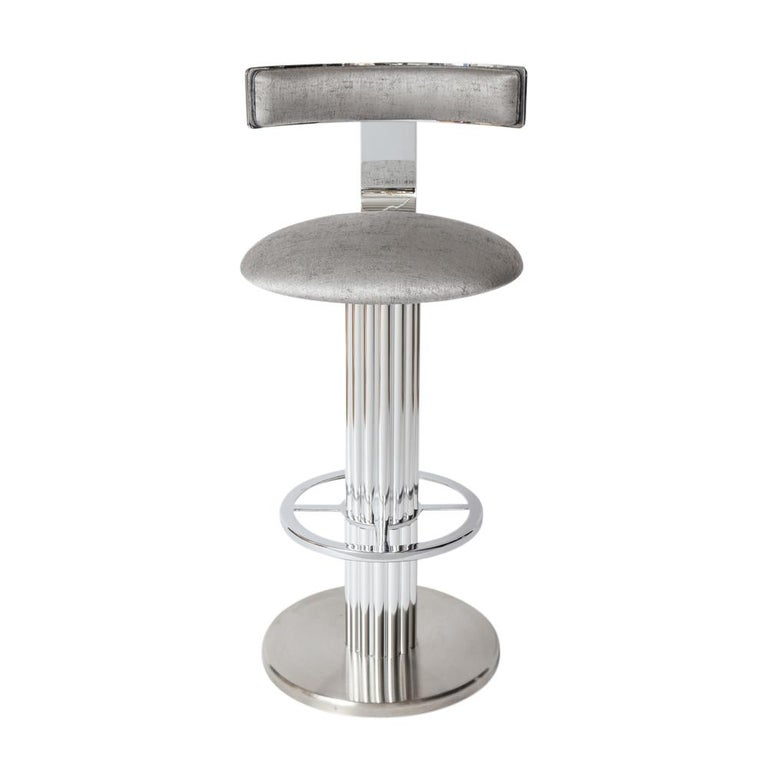 Late 20th Century Bar Stools by Designs for Leisure, Chrome Steel, Swivel For Sale