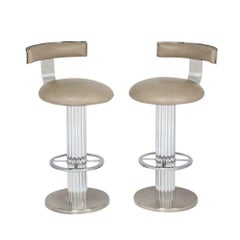 Bar Stools by Designs for Leisure, Chrome Steel, Swivel, Signed