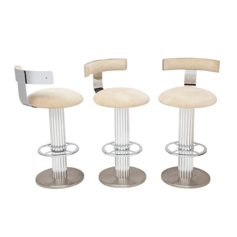 Mid-Century Modern Designs for Leisure Bar Stools, Chrome, Nickeled Steel For Sale