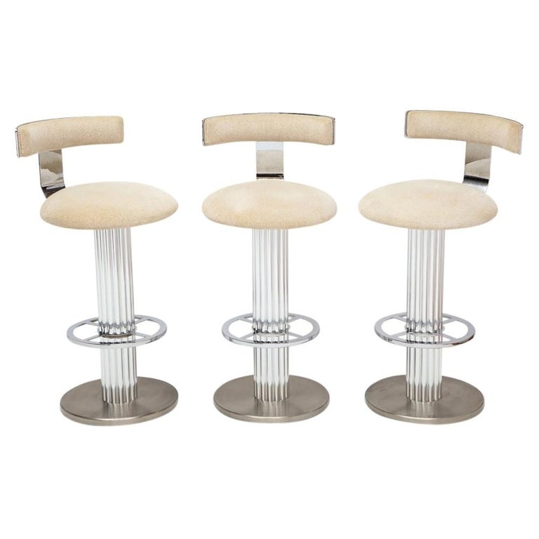 Designs for Leisure Bar Stools, Chrome, Nickeled Steel For Sale