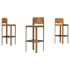 Bar Stools by Matteo Grassi in Brown Leather