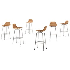 Bar Stools in Steel and Rattan in the Style of Charlotte Perriand