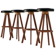 Bar Stools in Teak and Faux Leather