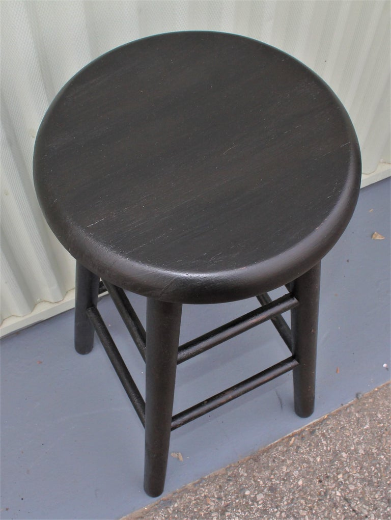 Hand-Crafted Bar Stools Midcentury in Black Painted Surface For Sale
