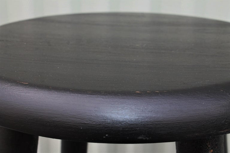 Wood Bar Stools Midcentury in Black Painted Surface For Sale