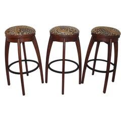 Bar Stools Midcentury Walnut with Upholstered Swivel, Set of 3