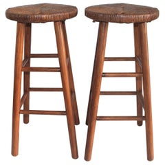 Bar Stools, Pine and Woven Rattan Seats, Pair