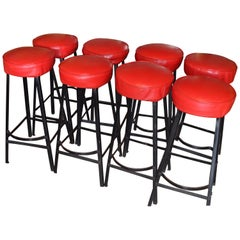 Bar Stools with Black Steel Frames and Startlingly Red Vinyl Seats. Set of 8