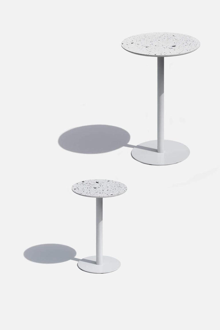 Industrial Bar Table 'I' in White Terrazzo For Sale