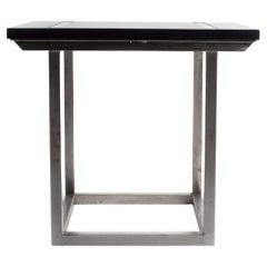 Bar Table with a Polished Steel Base and Ebonized Limestone Top