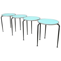 Bar Tables with Colored Formica Top from 1960s