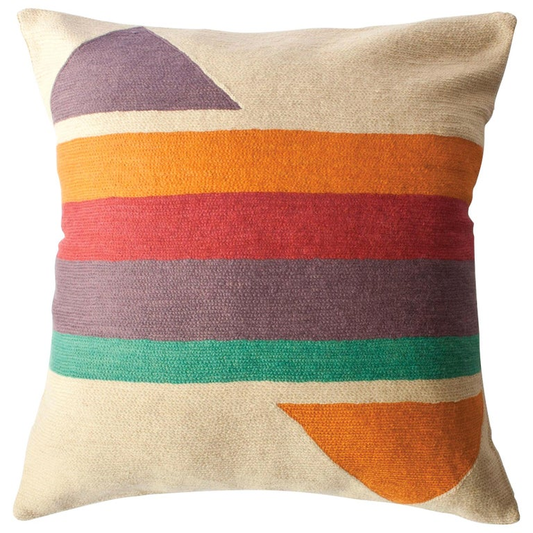 Bar Technicolor Hand Embroidered Retro Modern Throw Pillow Cover For Sale