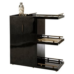 Bar Trolley in Black Pen Shell with 3 Removable Trays by Kifu Paris