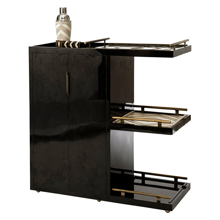 Bar Trolley in Black Pen Shell with 3 Removable Trays by Kifu Paris For Sale