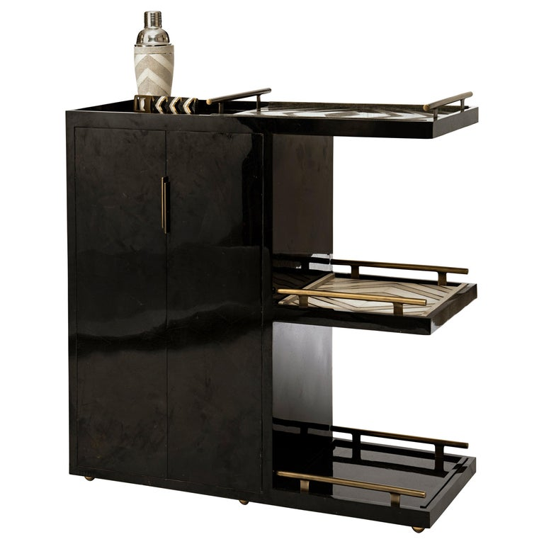 Art Deco Bar Trolley in Black Shagreen with 3 Removable Trays by Kifu, Paris For Sale