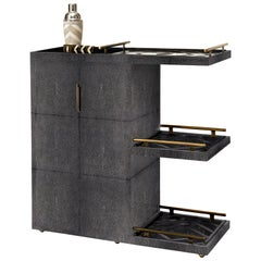 Bar Trolley in Black Shagreen with 3 Removable Trays by Kifu, Paris