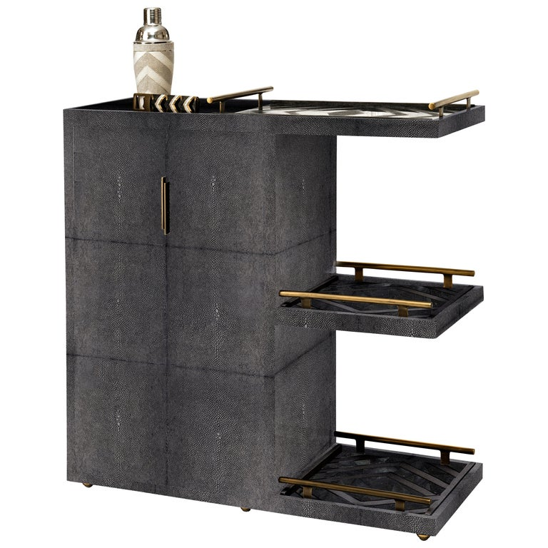 Bar Trolley in Black Shagreen with 3 Removable Trays by Kifu, Paris For Sale