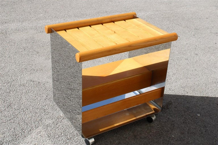 Bar Trolley in Chestnut and Curved Steel Minimalist and Rational, Italy, 1970s For Sale 7
