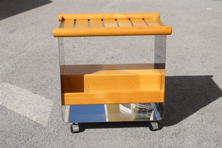 Bar trolley in chestnut and curved steel Minimalist and rational, Italy, 1970s.