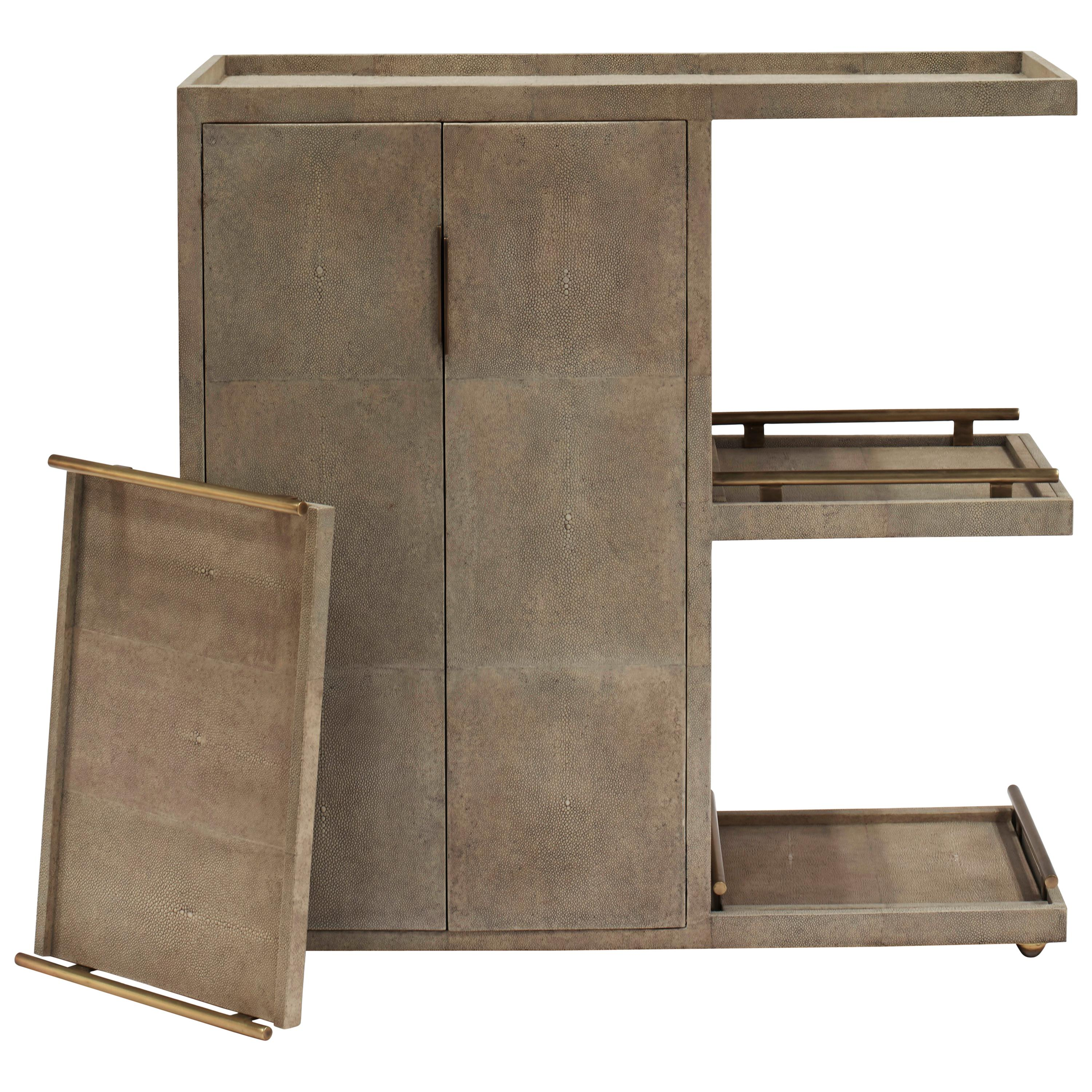 Bar Trolley in Cream Shagreen Shell with 3 Removable Trays by Kifu Paris
