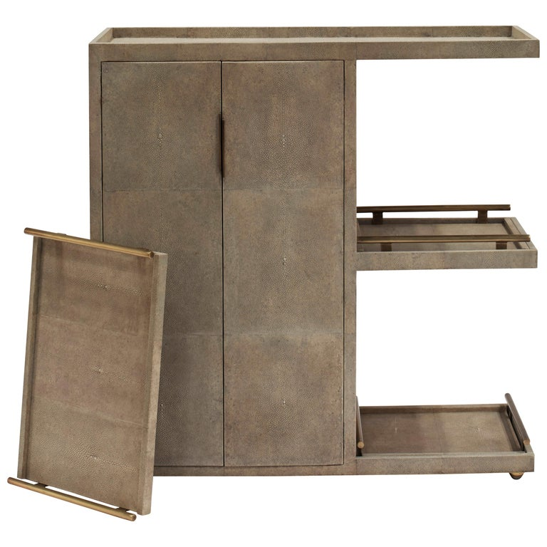 Bar Trolley in Cream Shagreen Shell with 3 Removable Trays by Kifu Paris For Sale