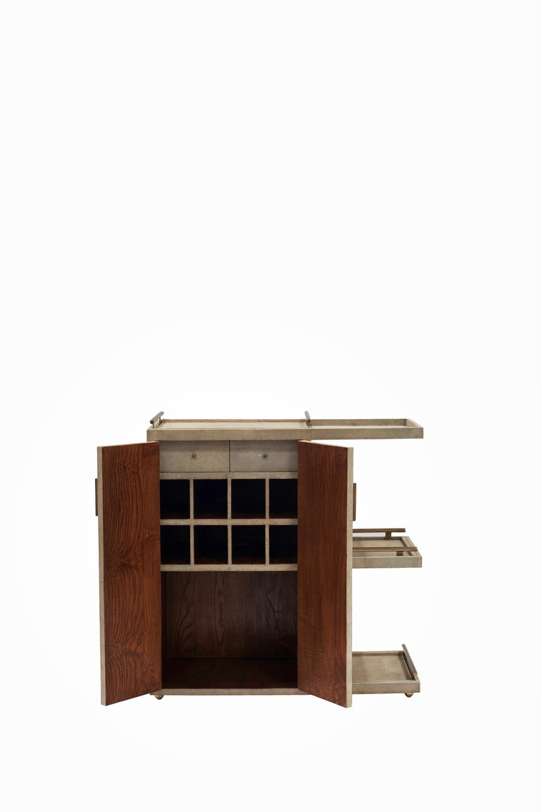 Contemporary Bar Trolley in Cream Shagreen with 3 Removable Trays by Kifu, Paris For Sale