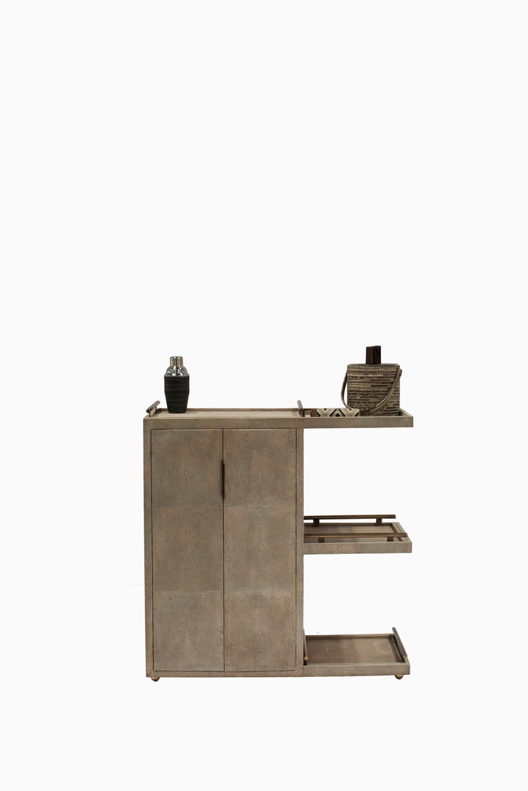 Brass Bar Trolley in Cream Shagreen with 3 Removable Trays by Kifu, Paris For Sale