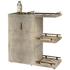 Bar Trolley in Cream Shagreen with 3 Removable Trays by Kifu, Paris
