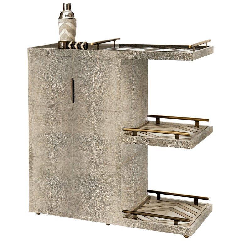 Bar Trolley in Cream Shagreen with 3 Removable Trays by Kifu, Paris For Sale