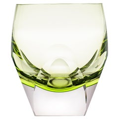 Bar Whisky Tumbler Underlay Crystal Yellow-Green 'Reseda', 5.74 Oz