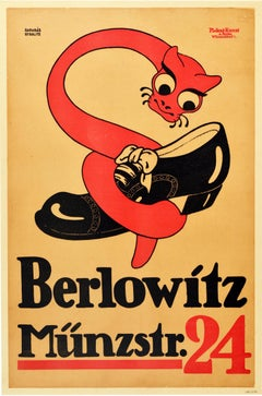 Original Antique Poster Berlowitz Munzstrasse 24 Berlin Germany Shoemaker Snake