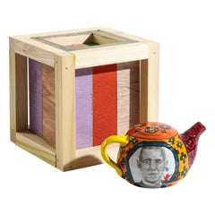 Barack Obama Teapot and Box Set in Glazed Ceramic and Wood by Roberto Lugo