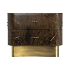 Baraka Bedside Table in Aged Brushed Brass and Casted Brass Details