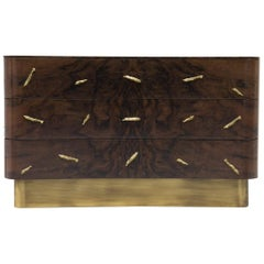 Baraka Chest with Brass Details and Smoked Glass Shelves