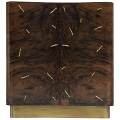 Baraka Cupboard with Brass Details & Smoked Glass Shelves